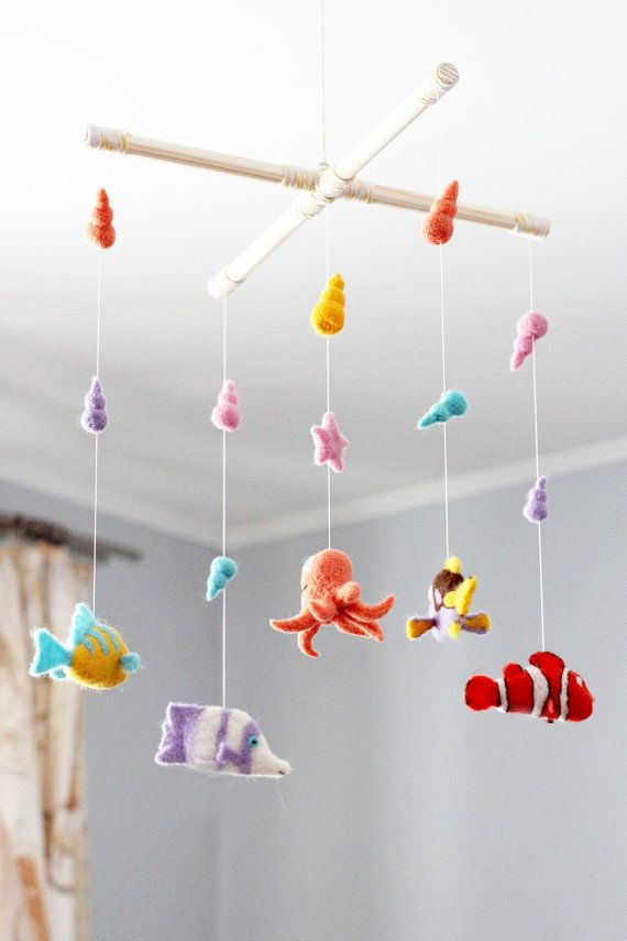 Needle Felted Fish Baby Mobile Octopus Needle by WoolenTenderness