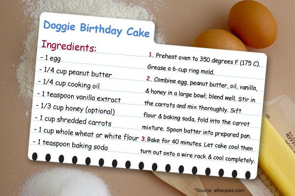 From Canine Fence - a dog birthday cake recipe. Safe for your dogs!