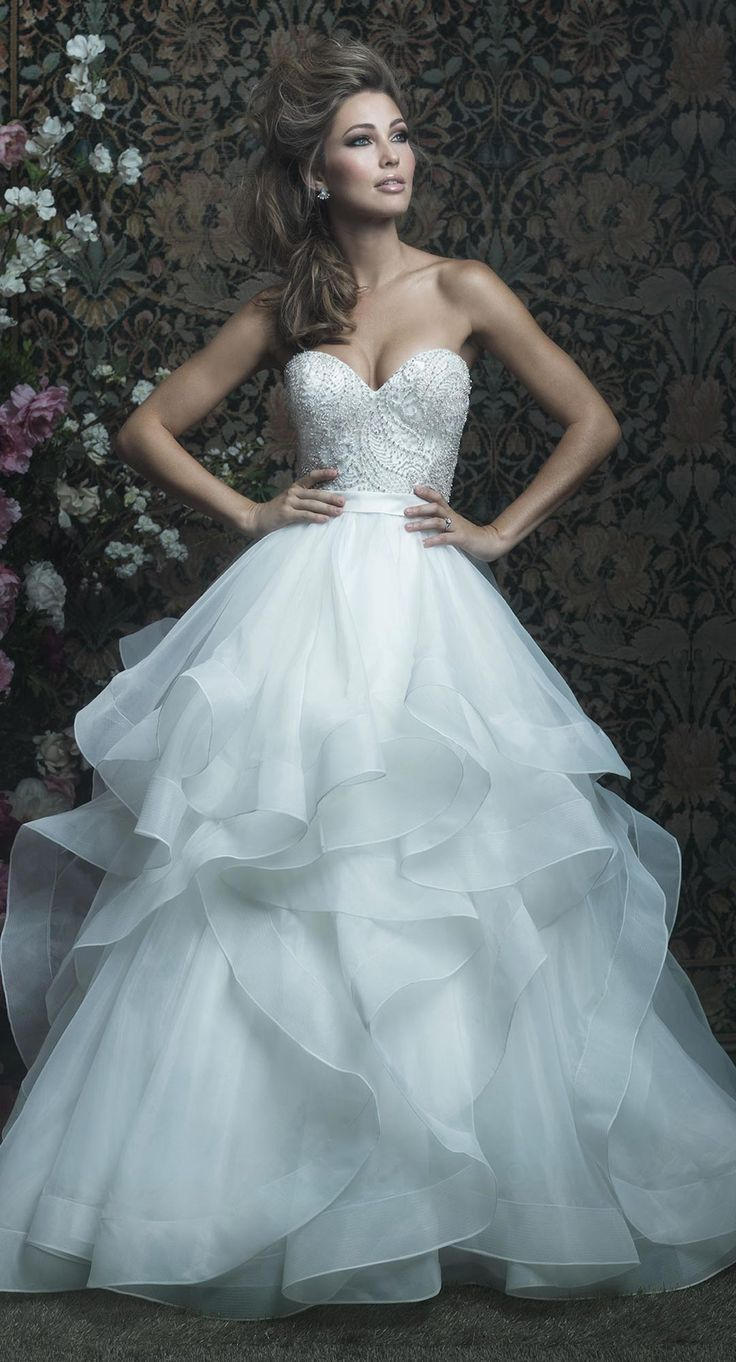 Allure Couture style C417 strapless ball gown with beaded bodice and ruffled skirt. Romance with a hint of glamour! @allurebridals #AllureBridals #AllureCouture #ad #wedding #bridal #weddingdress #ballgown #romantic