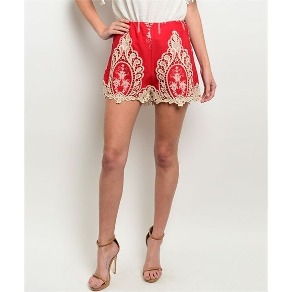 Red Cream Crochet Embroidered Shorts Size Large So gorgeous!!  Beautiful for Spring!!  Red and cream crochet embroidered shorts. Size Large. 100% Cotton. No Trades, Price Firm unless Bundled.  BUNDLE 3 OR MORE ITEMS FOR 15 % OFF Boutique Shorts
