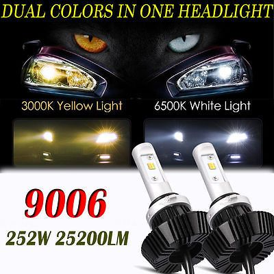 9006/HB4 LED Headlight Bulbs252W 25200LM Dual Colors Yellow White 6500K #Motors #Parts #Accessories #High Power Lamp Car Truck Motorcycle SUV ATV UT