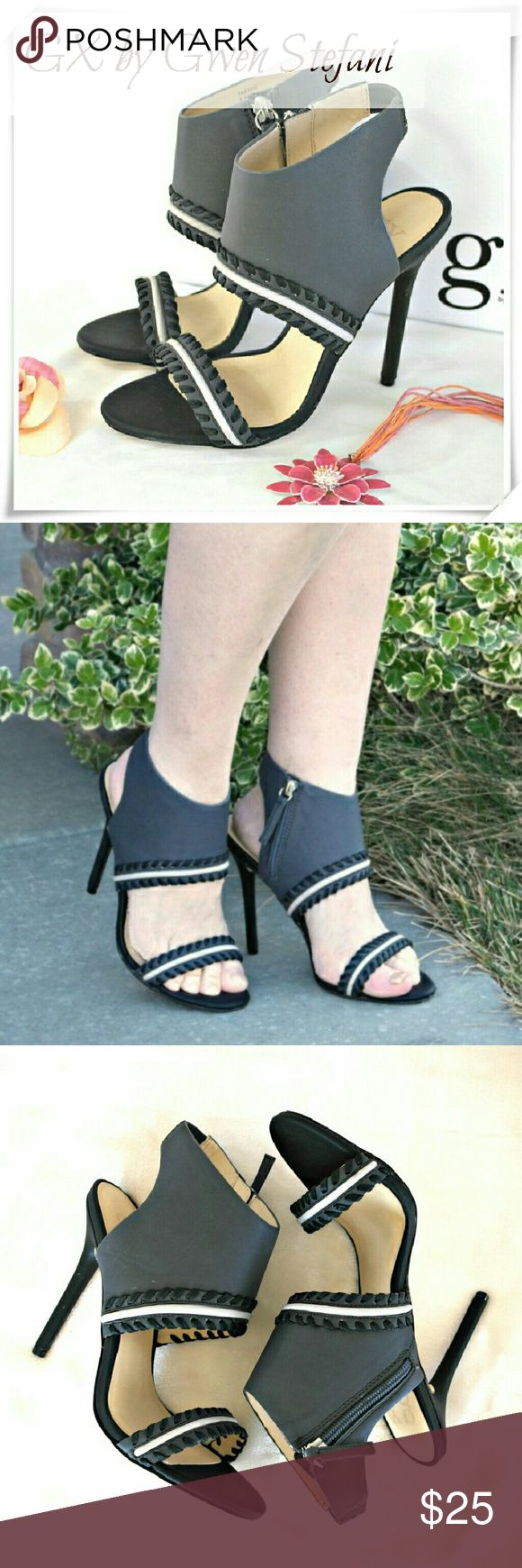 """HP☘GX by Gwen Stefani Takako heels sandals Soft faux leather sandals with whipstitch detail. Side zip clouser, goring at the back of the anckle strap. Dark gray - slate - color.  Details: heel 4-1/2"""", TTS, but runs a bit narrow, the shoe will fit medium to narrow ankles. The color is dark gray, not like on the cover picture, closer to stock pictures.  Please use only ✔OFFER  button for all price negotiations. GX by Gwen Stefani Shoes Sandals"""
