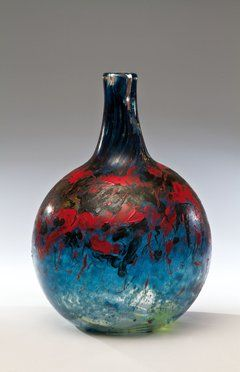 Painted glass vase by abstract decoration, 41,0 cm, 1990