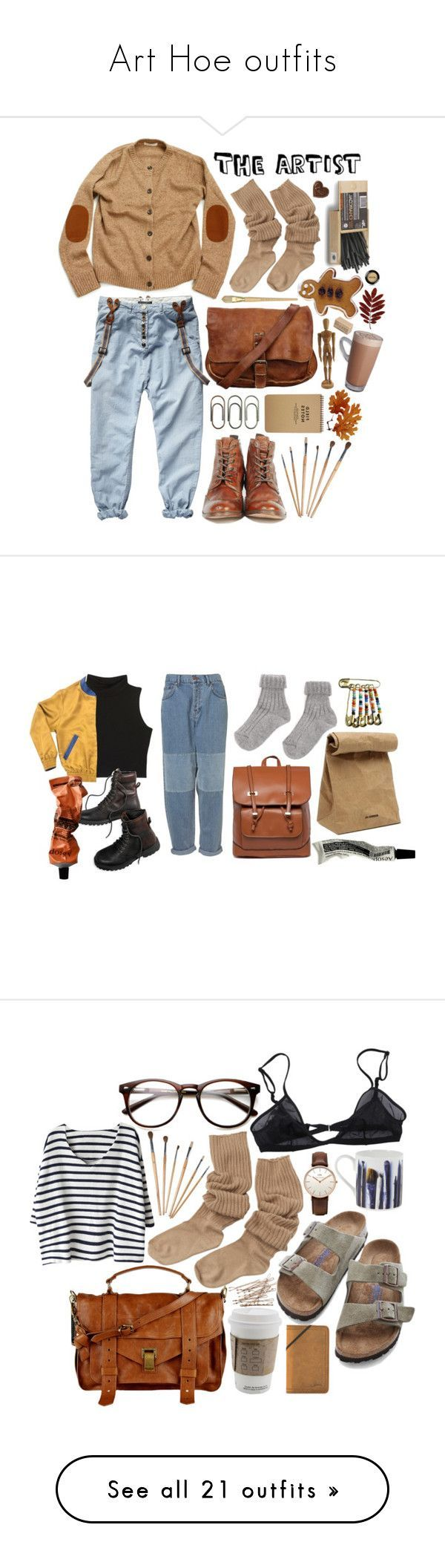 """""""Art Hoe outfits"""" by brittney-crowe ❤ liked on Polyvore featuring H by Hudson, Clips, Tourne, Stila, ootd, American Eagle Outfitters, Aesop, Jil Sander, Daniel Wellington and Bllack by Noir"""