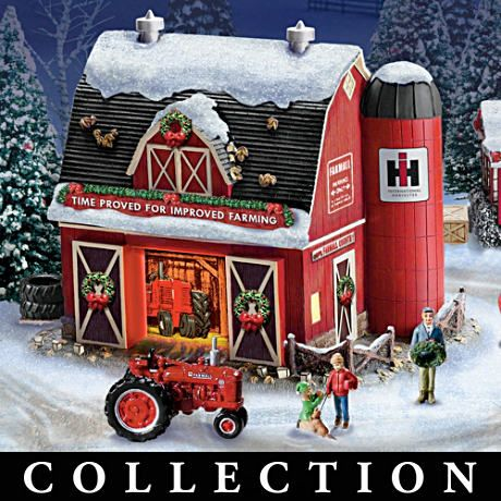 Farmall Illuminated Holiday Village With Sculpted Tractors