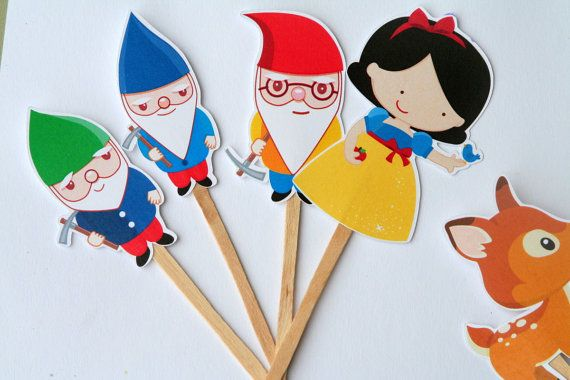 Snow White and the 7 Dwarfs Cupcake Toppers by PaperPartyParade, $6.00