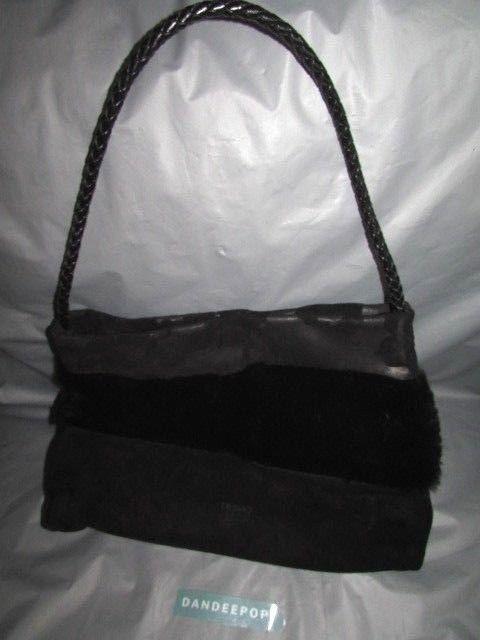 DESMO Designer Black Suede Leather Handbag Evening Bag With Fur Accent   DESMO  ShoulderBagEvening  handbag  shoulderbag  evening  black  suede   leather ... 380cabc1d80f0