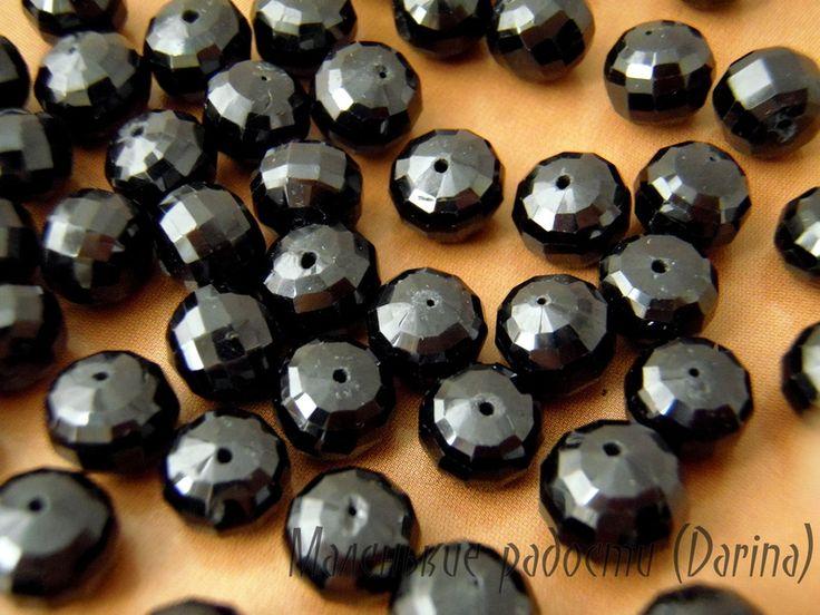 Шпинель, черная, граненный рондель, 9х8+- мм Spinel beads