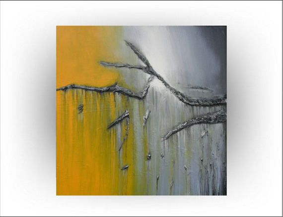 Abstract Gray and Yellow Original painting 30 x 30 – Skye Taylor – Pinterest Mini-Mall Viral Board