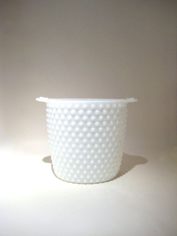 Vintage Milk Glass Hobnail Ice Bucket . White