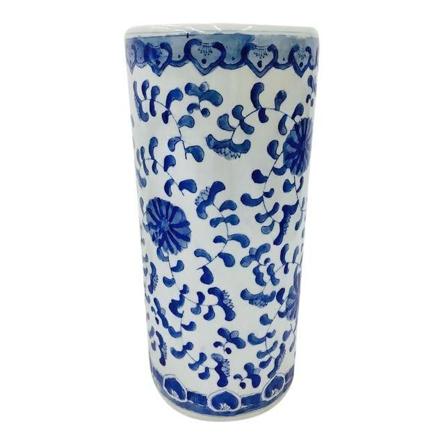 Image of Vintage Blue & White Asian Style Ceramic Umbrella Stand