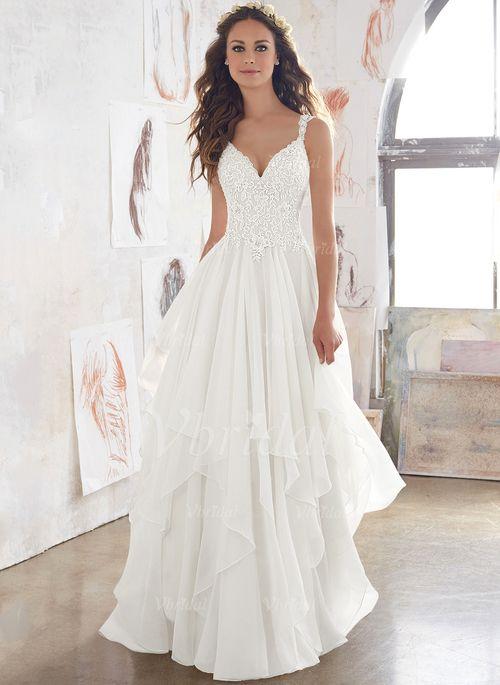 Robes de mariée – $174.13 – Forme Princesse Col V Traîne Balayage/Pinceau Mous…