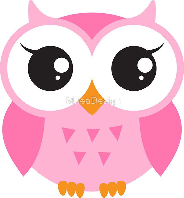 Cute, pink baby owl sticker