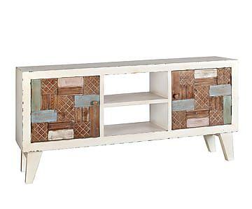 Mueble de tv en madera rustic proyecto muebles y for Composiciones modulares para salon