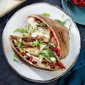 Grilled Chicken Pitas with Sesame Drizzle | MyRecipes.com