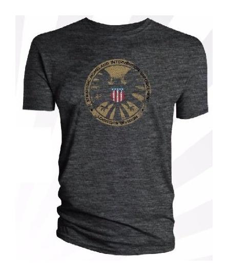 Official Marvel Avengers SHIELD Logo Dark Grey Adult T-Shirt: Amazon.co.uk: Clothing
