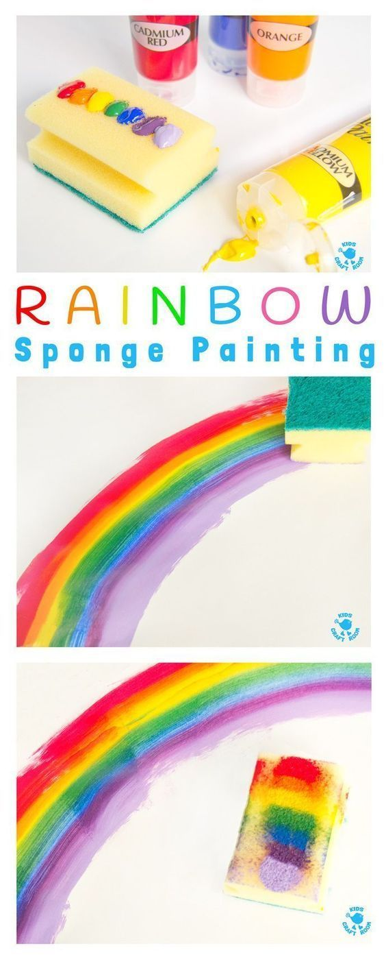 Rainbow Sponge Painting - fun rainbow art for kids that explores colour mixing, blending and textures. #artsandcraftsforpre-schoolers,