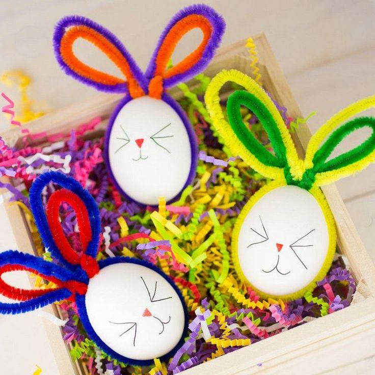 Ostereier als hübsche Häschen dekorieren mit Pfeifenreinigern