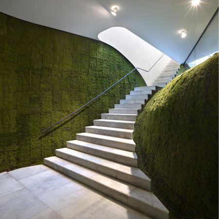 Ann Demeulemeester Shop in Seoul by Mass Studies - Dezeen: Interior, Ann Demeulemeester, Green Walls, Demeulemeester Shop, Staircase, Vertical Gardens, Design