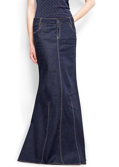 MANGO - CLOTHING - Mermaid denim maxi-skirt