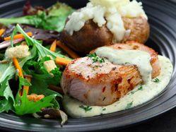Recettes - Côtelettes de porc aux fines herbes et sauce à la moutarde - - Fondation des maladies du cœur et de l'AVC