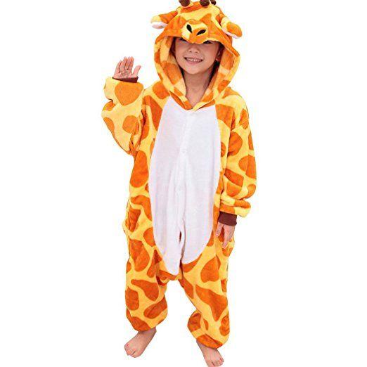 Happy Cherry Kinder Mädchen Jungen Tier Cosplay Kostüme Tierkostüme Niedlichen Cartoon Nachtwäsche Pyjamas Schlafanzug Flannel für Halloween Kinderparty Karneval - Gelb Giraffe Größe 85