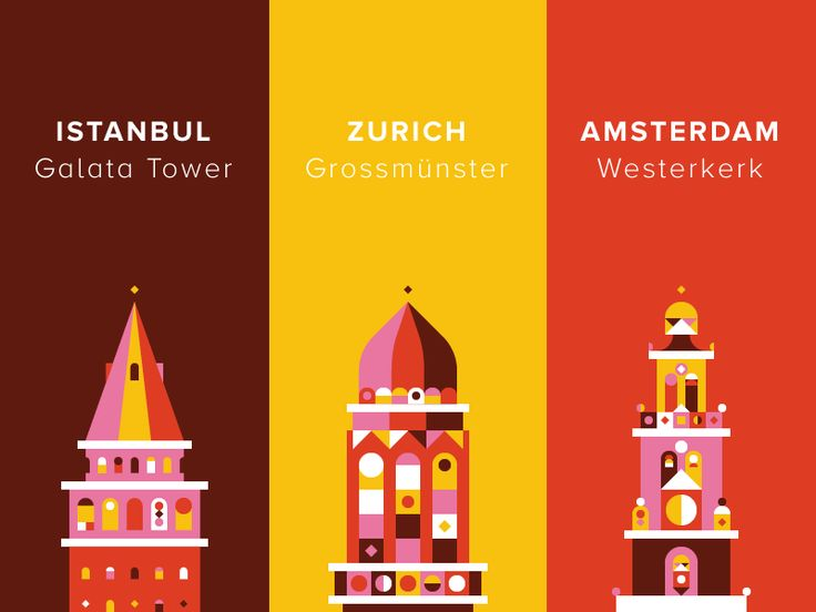 I like these nicely illustrated buildings for those cities. Using the analogous color makes a coordinate relationship between them and very impressive colors.