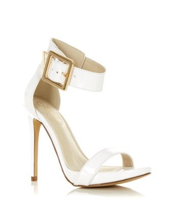 Limited White Buckle Ankle Strap Heels