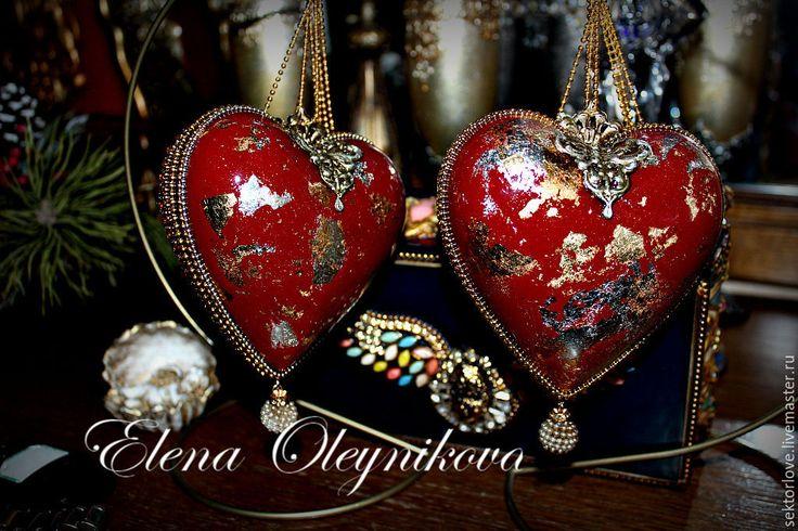 """Купить Маскарад"""" сердечки интерьерные новогодние - золотой, золочение, Новый Год, новогодний декор"""