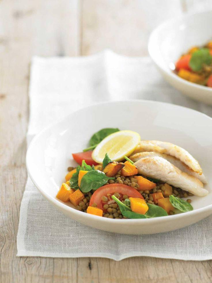 30 best healthy fish seafood recipes smart eating for you images pan fried fish with lentil and spinach salad recipe courtesy of healthy food guide forumfinder Choice Image