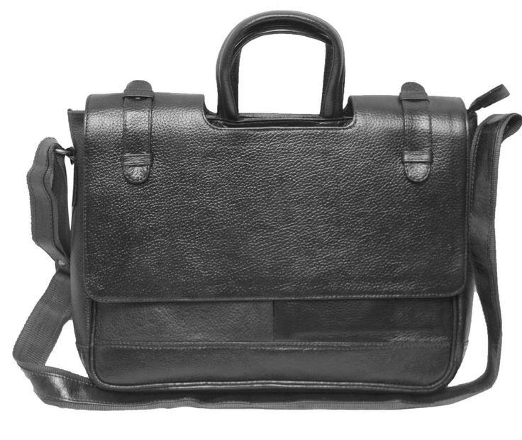 Comfort 12 inch Black Leather Laptop Messenger Bag for men and women unisex EL23
