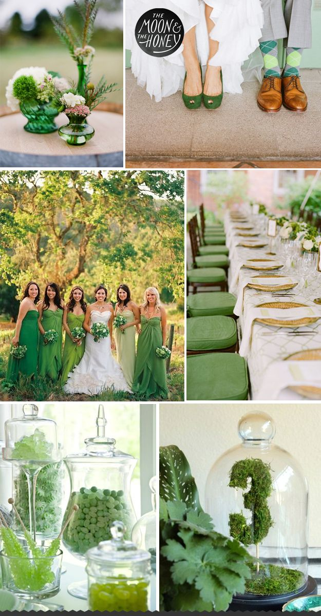 """Love the clear and green glass combo...we have similar pieces in our inventory...check out our """"LAURANNE"""" Dessert Pedestals and """"ANDREA"""" Glass Cloches @ www.modernrevivalrentals.com, under INVENTORY- Tabletop.  The Moon & The Honey - green wedding"""