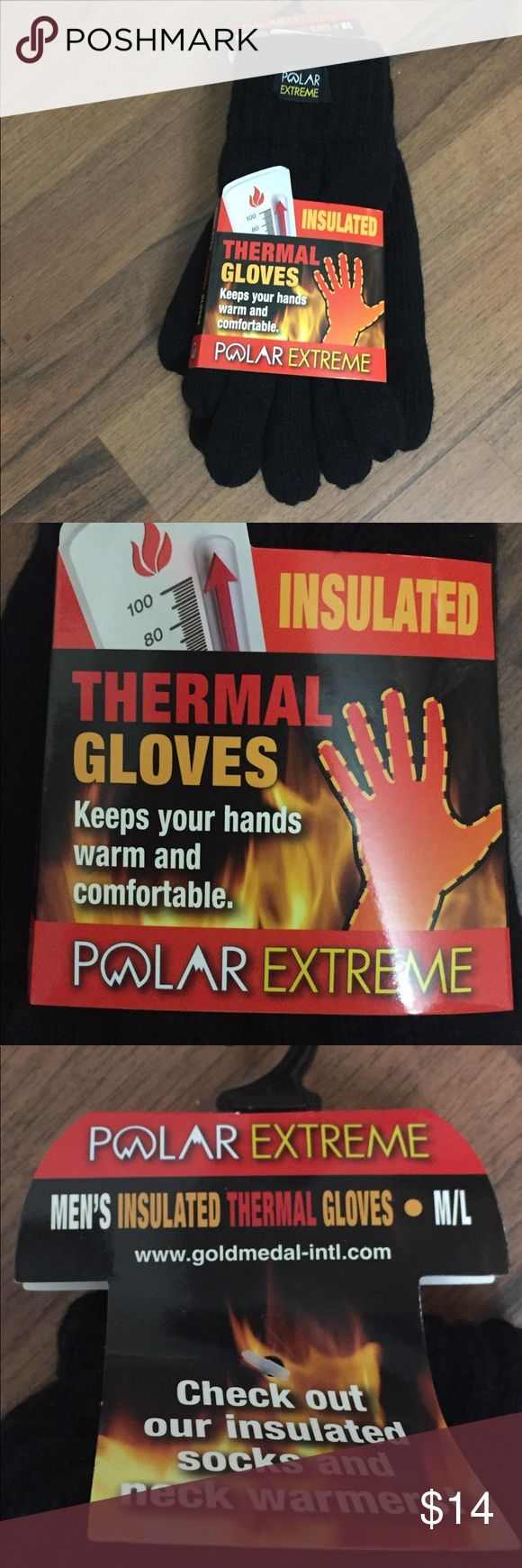 Thermal Insulated Gloves New In Package.   Men's Insulated thermal gloves.  Size medium / large (adult).  Polar Extreme. Warmth, comfort and performance. Accessories Gloves