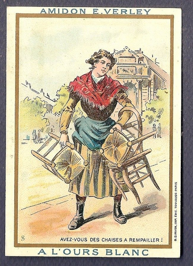 LES CHAISES A REMPAILLER - VIEUX METIER - - Chromo - Victorian Trade Card SIRVEN