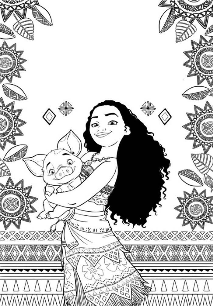 Coloriage de Vaiana (Moana) gratuit à imprimer pour les enfants avec son petit cochon dans les bras.  #vaiana #moana #coloriage