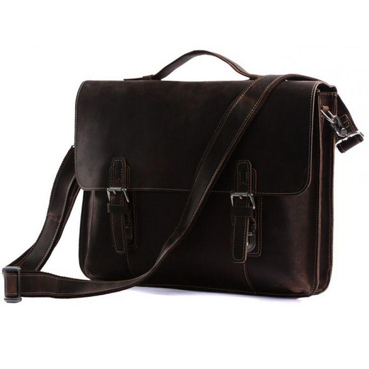 CarryBag - Темно-коричневый кожаный портфель JMD 7035R crazy horse