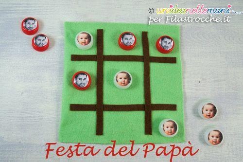 Regalo Festa del papà - Ecco un tutorial per creare insieme ai tuoi bambini il gioco del tris fatto di stoffa e le pedine personalizzate con le foto.