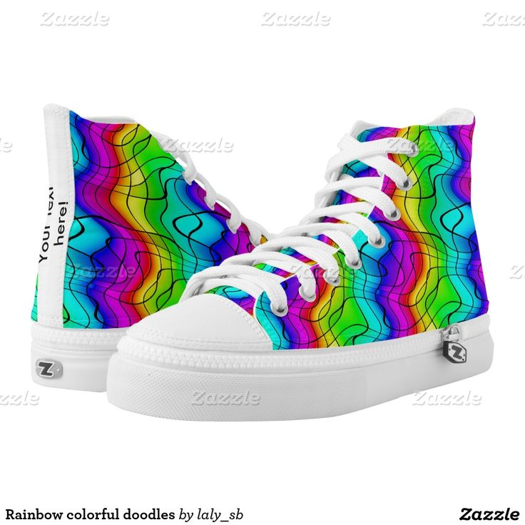 Rainbow colorful doodles printed shoes