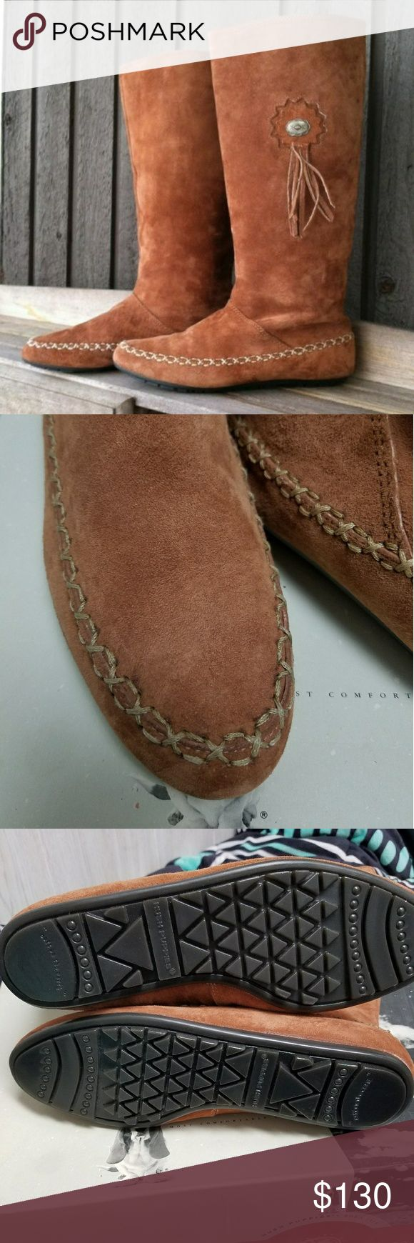 Leather moccasin boots Genuine leather and suede moccasin boots. Brand new with box. Sat so long that interior on one boot is peeling slightly but nothing major. These just need someone to show them off. Original price almost $200! Hush Puppies Shoes Moccasins