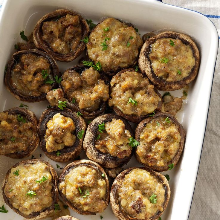Sausage Mushroom Appetizers Recipe -These stuffed mushrooms are can't-stop-eating-them good. For variations, I sometimes substitute venison or crabmeat for the pork sausage in the stuffing. —Sheryl Siemonsma, Sioux Falls, South Dakota