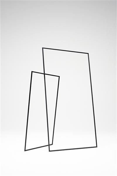 simple and minimal hangar rack: black frames | wardrobe . Garderobe . garde-robe | Design: nendo |