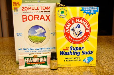 Laundry Detergent 2 cups Borax 2 cups Washing Soda 1 cup Fels-Naptha (optional, few drops of lavender essential oil) Directions: Mix together ingredients in a large tub. Add 1/4 cup to your laundry. If I am washing towels or linens I usually add 5-6 drops of lavender for a nice scent.
