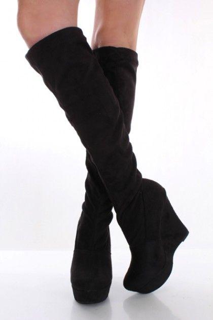 Black Knee High Platform Wedge Boots $28.99!