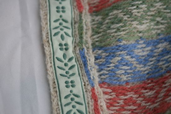 Examples of steeks finished with grosgrain ribbon.