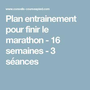 Plan entrainement pour finir le marathon - 16 semaines - 3 séances