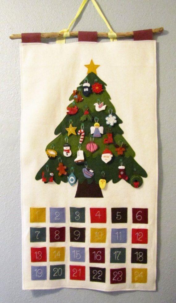 Pattern - Felt Ornament Advent Calendar Pattern, PDF, Christmas Advent Wall Hanging. $14.00, via Etsy.