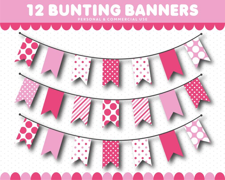 Pink bunting banner clipart in triangle and square flags with stripes and polka dot, CL-1535