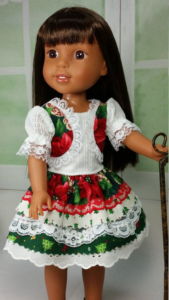 Fancy holiday christmas dress for wellie wishers american made to fit