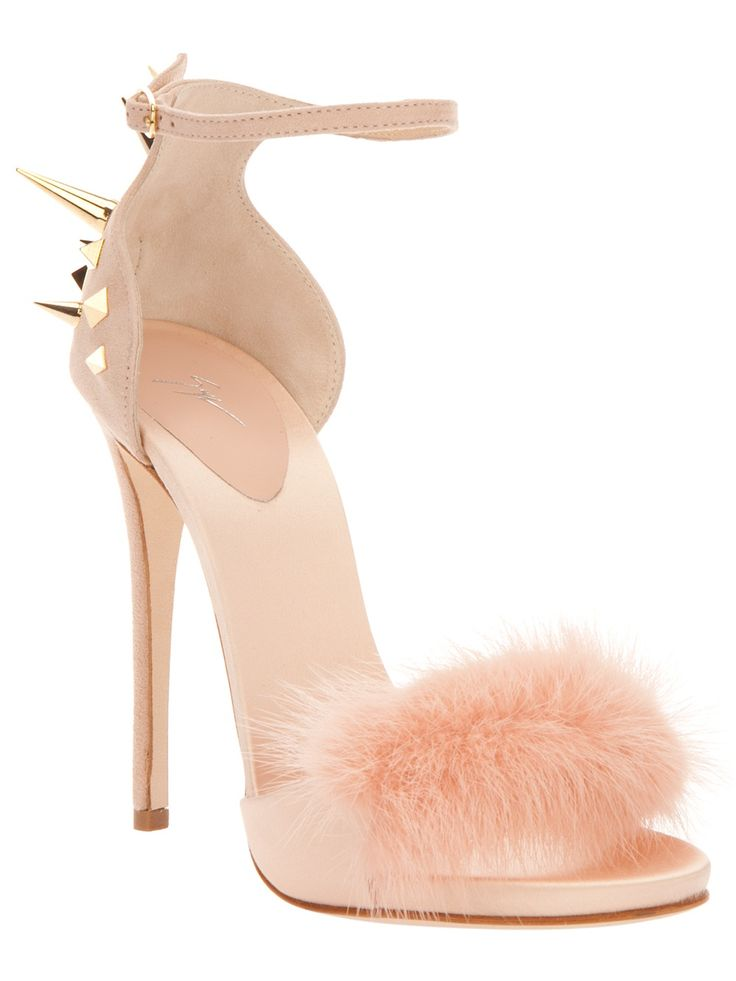 a girly pink shoe by giuseppe zanotti featuring fluff, but hardened up by studs and spikes #shoeporn