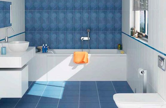 White And Blue Small Bathroom Floor Tile Combination